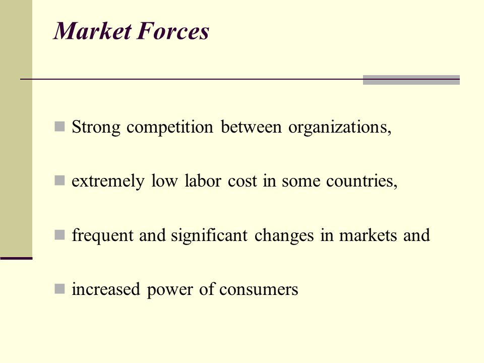 Market Forces Strong competition between organizations,