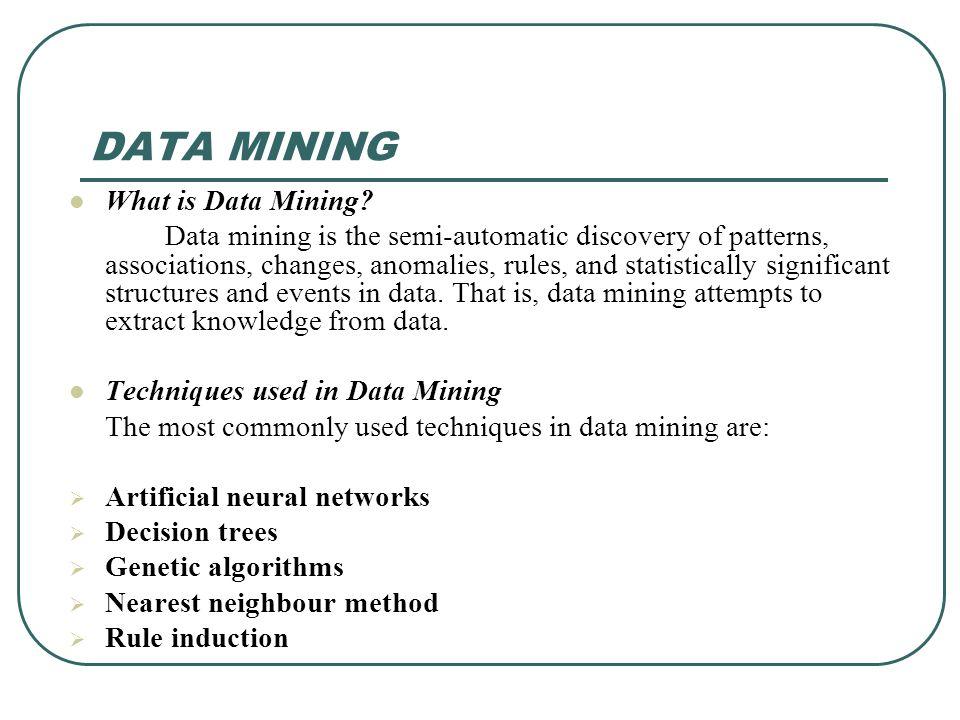DATA MINING What is Data Mining