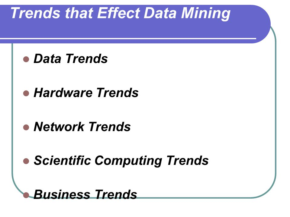 Trends that Effect Data Mining