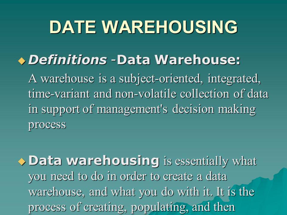 DATE WAREHOUSING Definitions -Data Warehouse: