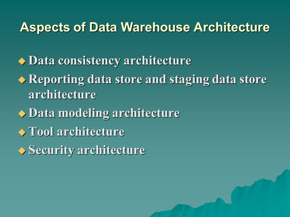 Aspects of Data Warehouse Architecture