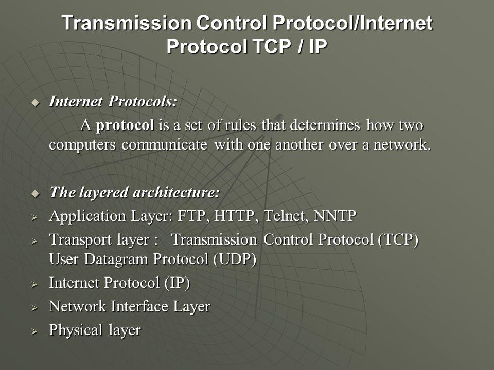 Transmission Control Protocol/Internet Protocol TCP / IP