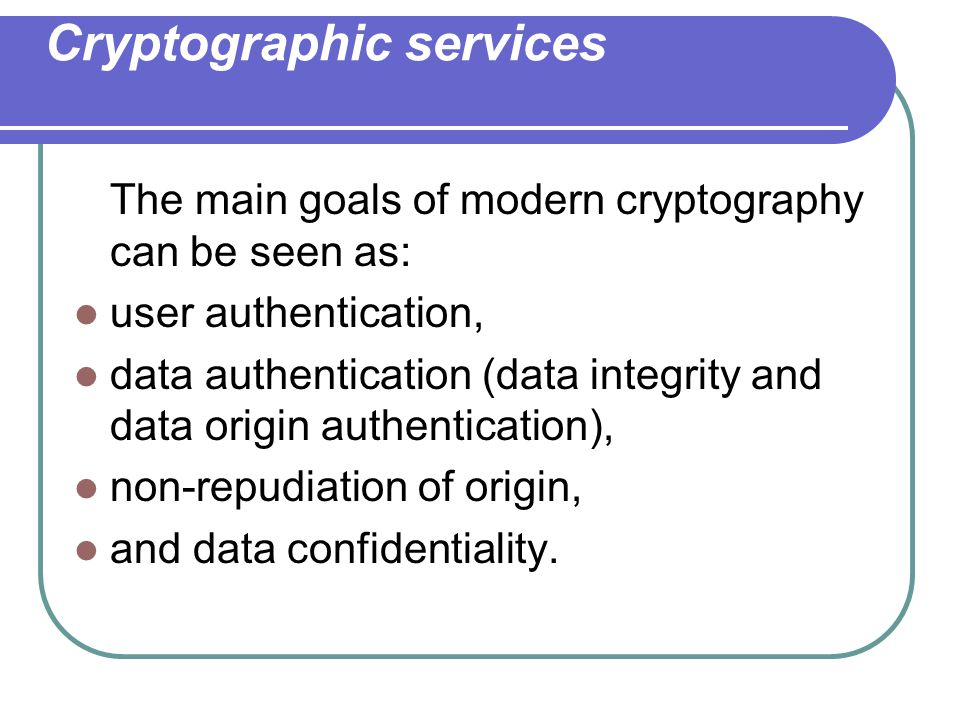Cryptographic services