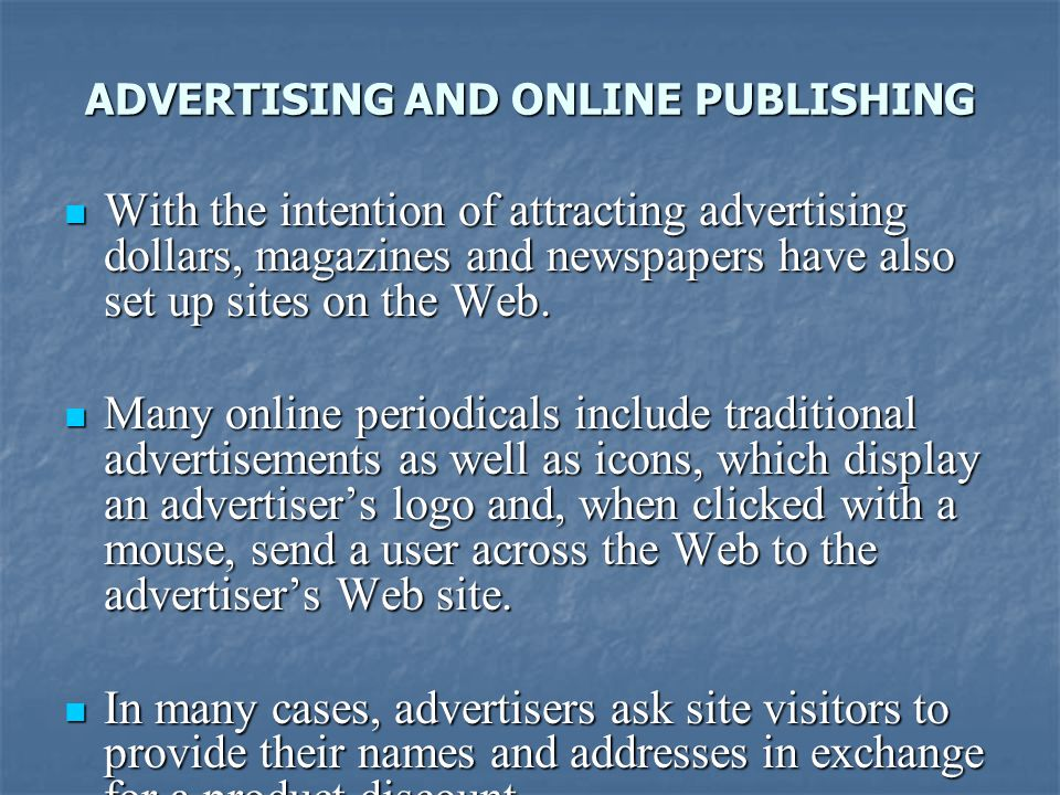 ADVERTISING AND ONLINE PUBLISHING