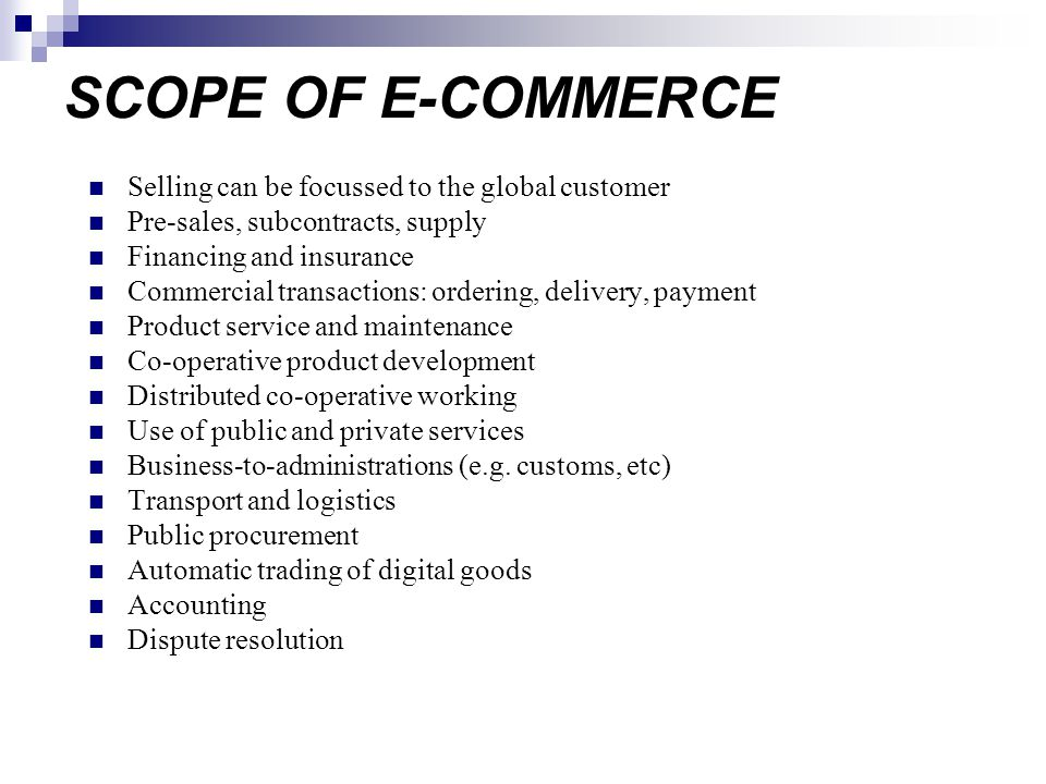 scope of commerce E-commerce, or electronic commerce, is the transmission of funds or data through the iinternet to facilitate the purchase and sales of goods and services.