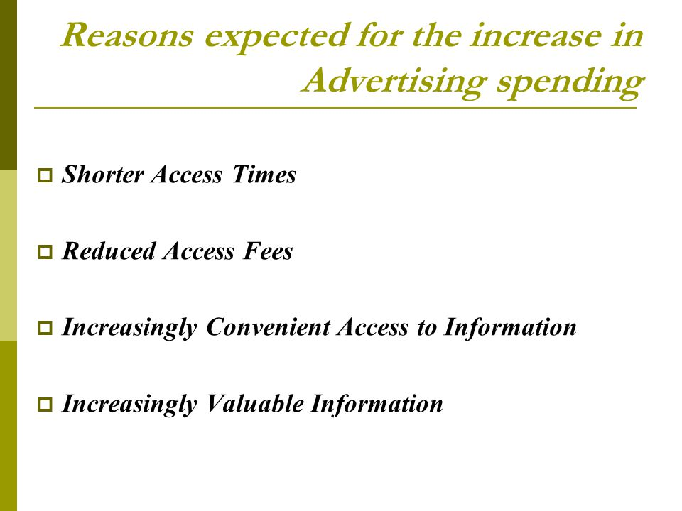 Reasons expected for the increase in Advertising spending