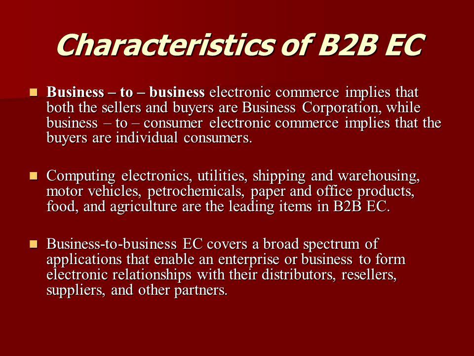 Characteristics of B2B EC