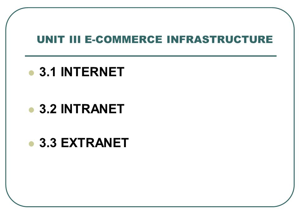 UNIT III E-COMMERCE INFRASTRUCTURE