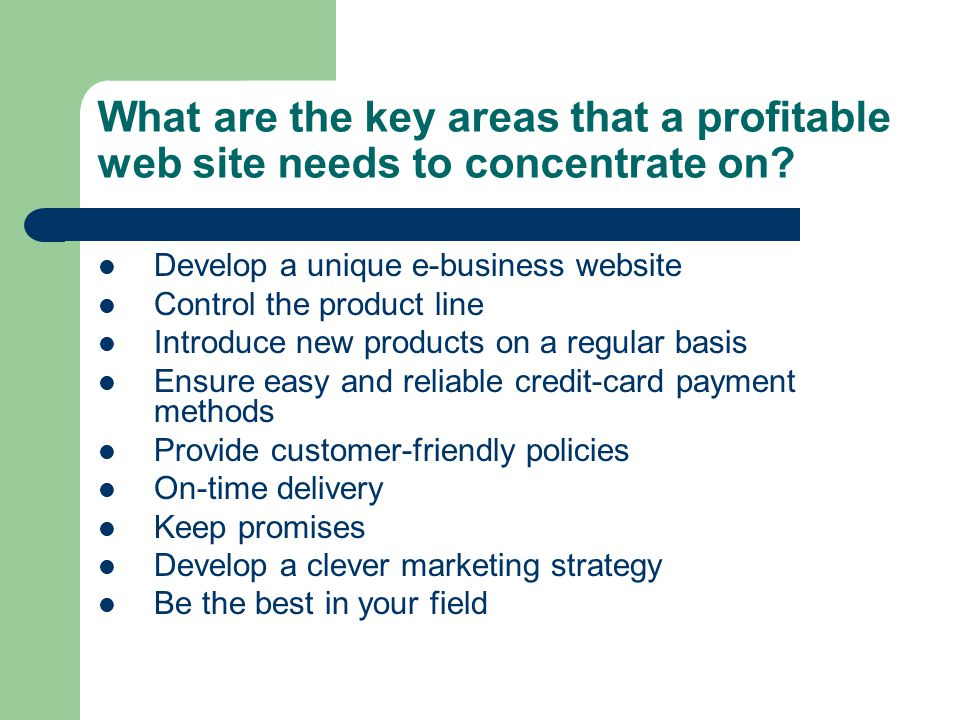 What are the key areas that a profitable web site needs to concentrate on