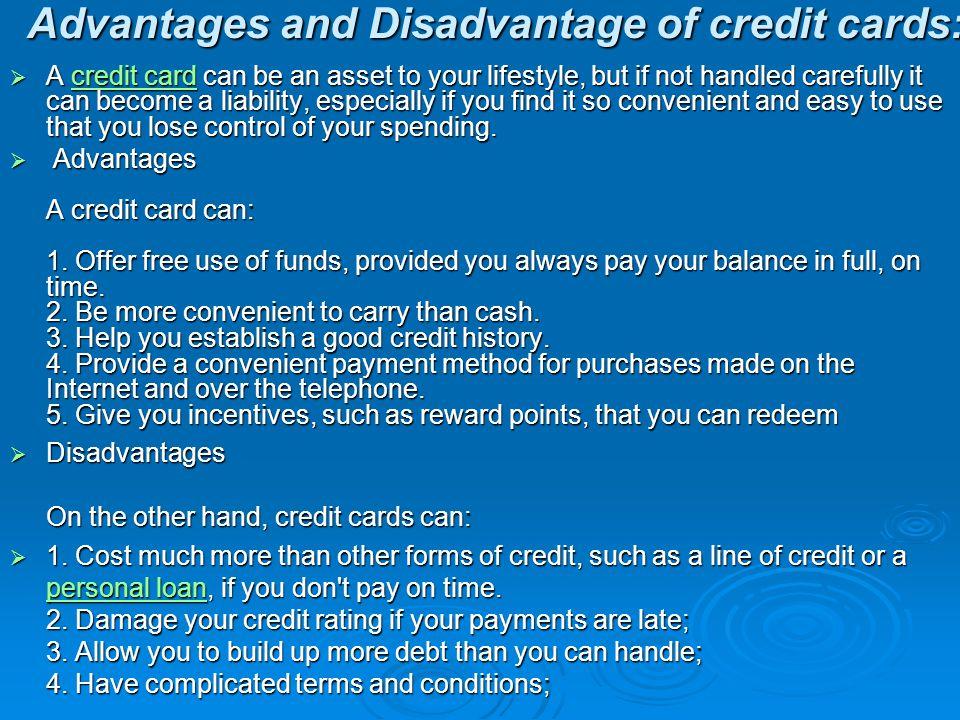 disadvantage of credit card essay
