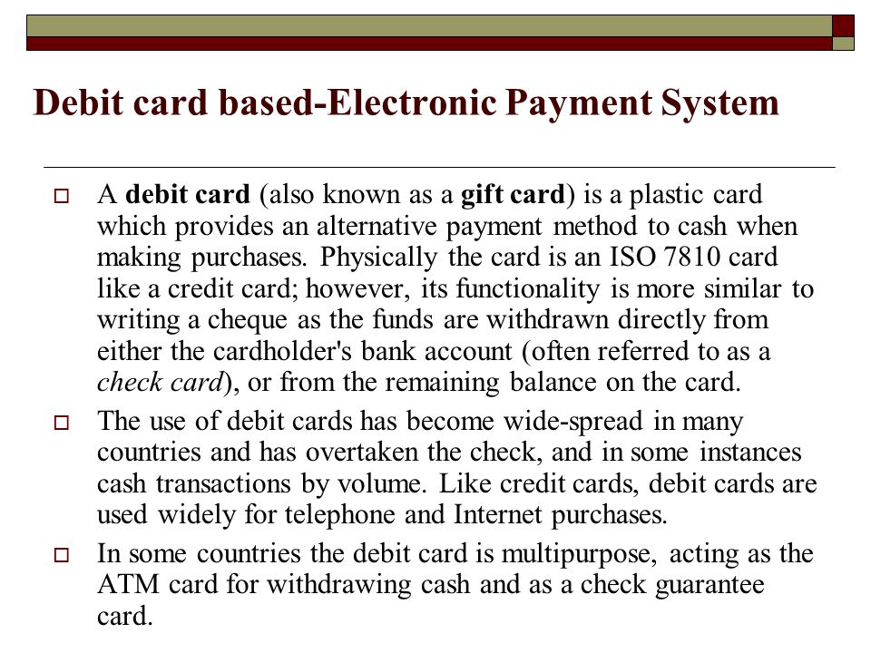 Debit card based-Electronic Payment System
