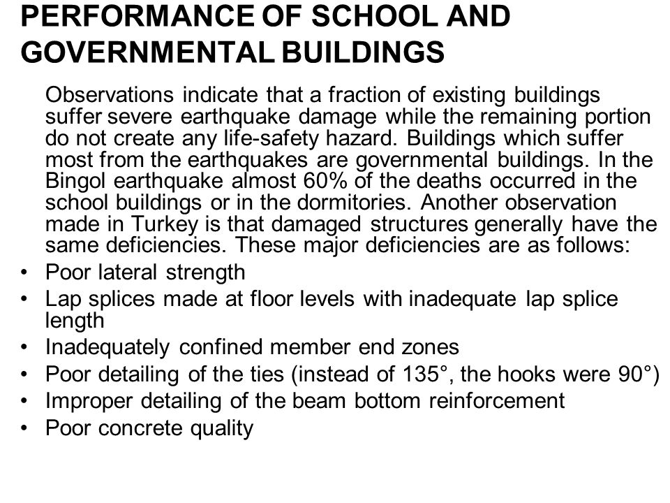PERFORMANCE OF SCHOOL AND GOVERNMENTAL BUILDINGS