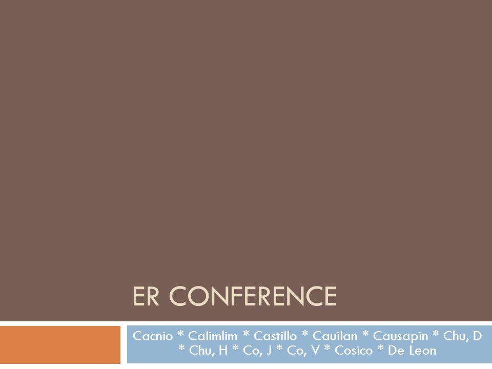 ER Conference Cacnio * Calimlim * Castillo * Cauilan * Causapin * Chu, D * Chu, H * Co, J * Co, V * Cosico * De Leon.