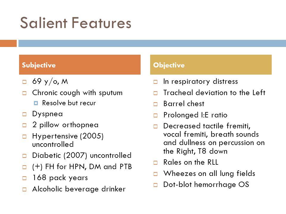 Salient Features 69 y/o, M Chronic cough with sputum Dyspnea