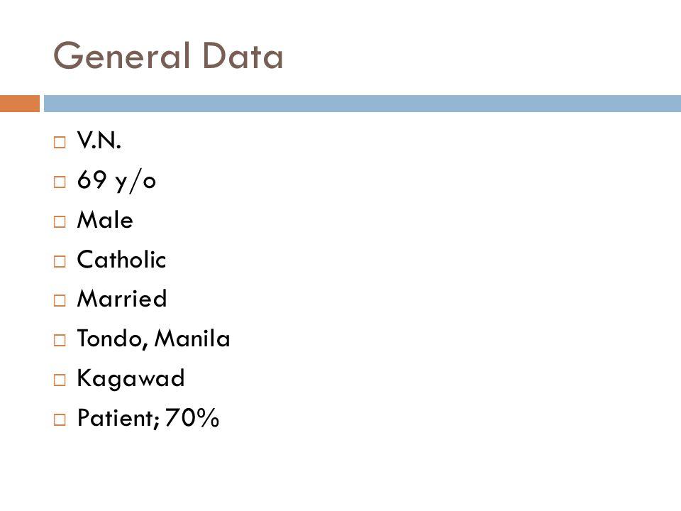 General Data V.N. 69 y/o Male Catholic Married Tondo, Manila Kagawad