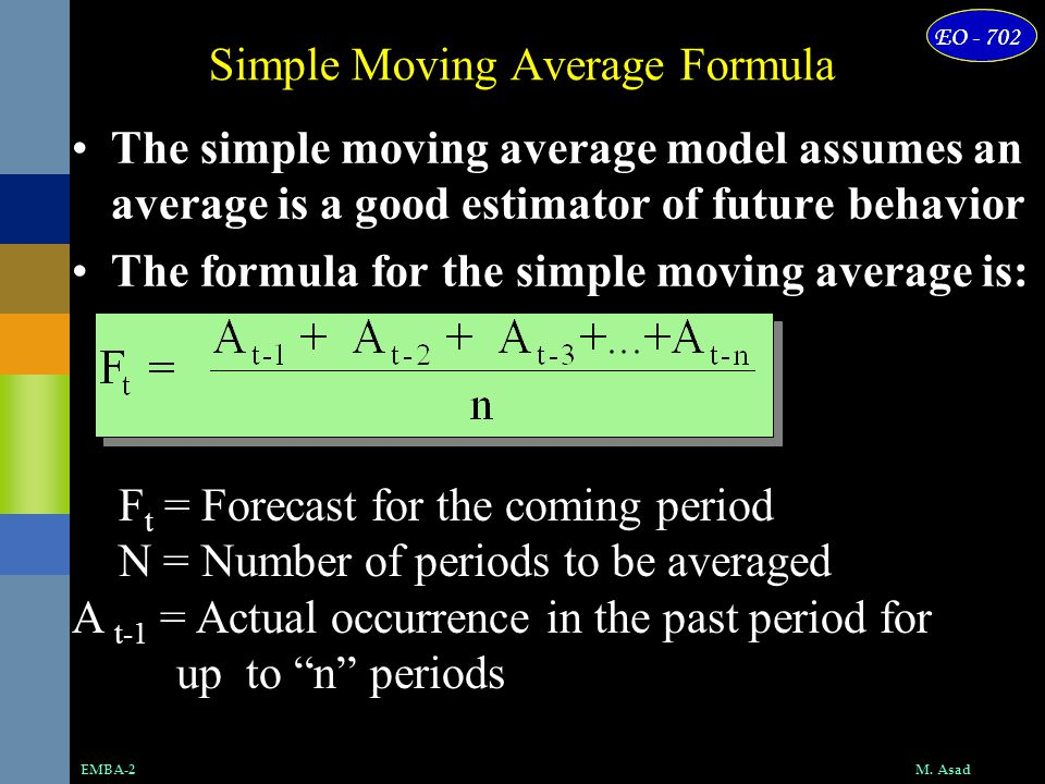 Simple Moving Average Formula