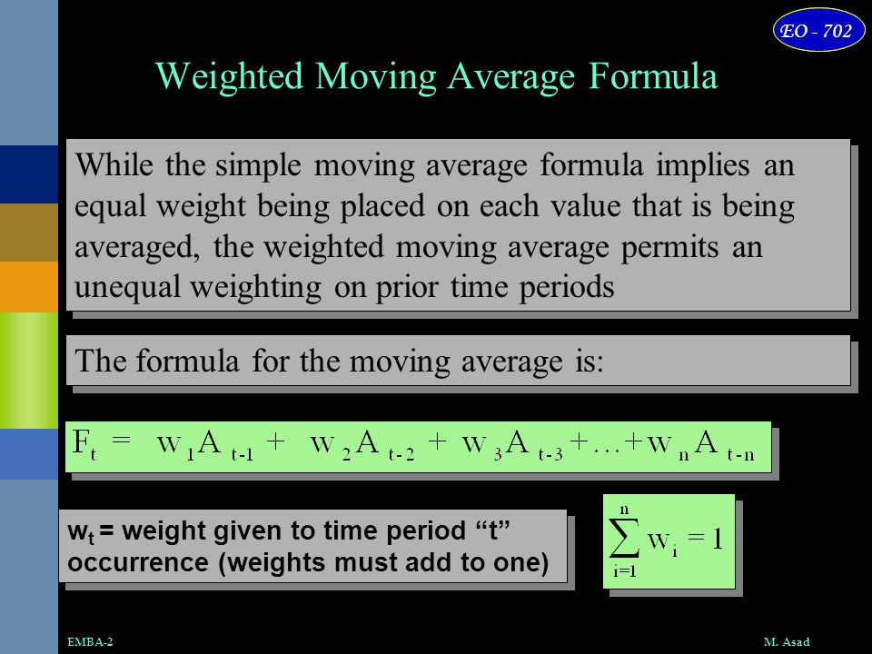 Weighted Moving Average Formula
