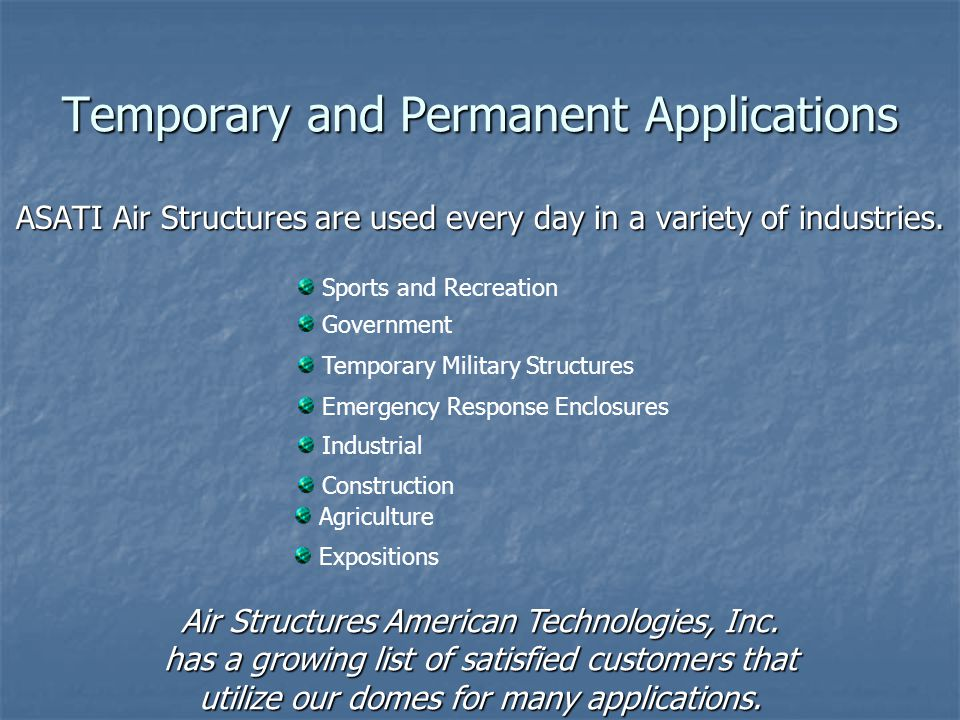 Temporary and Permanent Applications