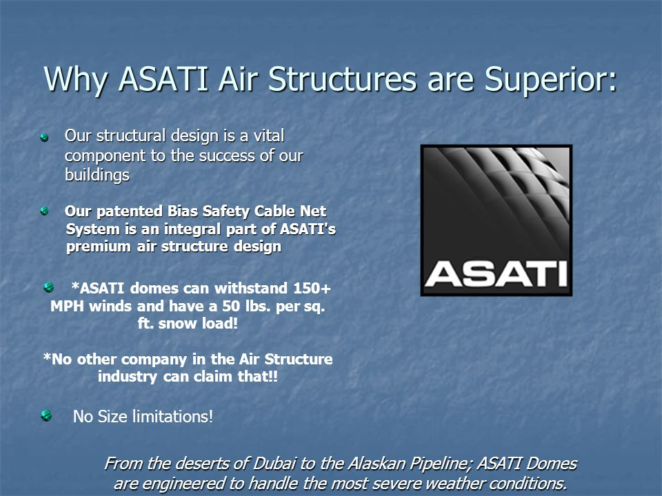 Why ASATI Air Structures are Superior:
