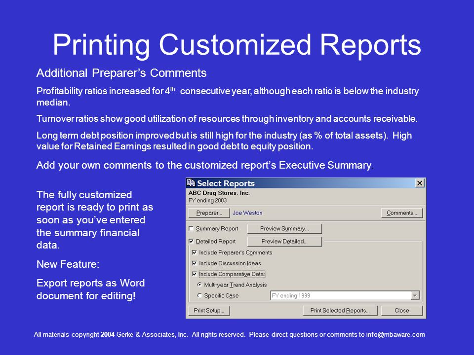 Printing Customized Reports