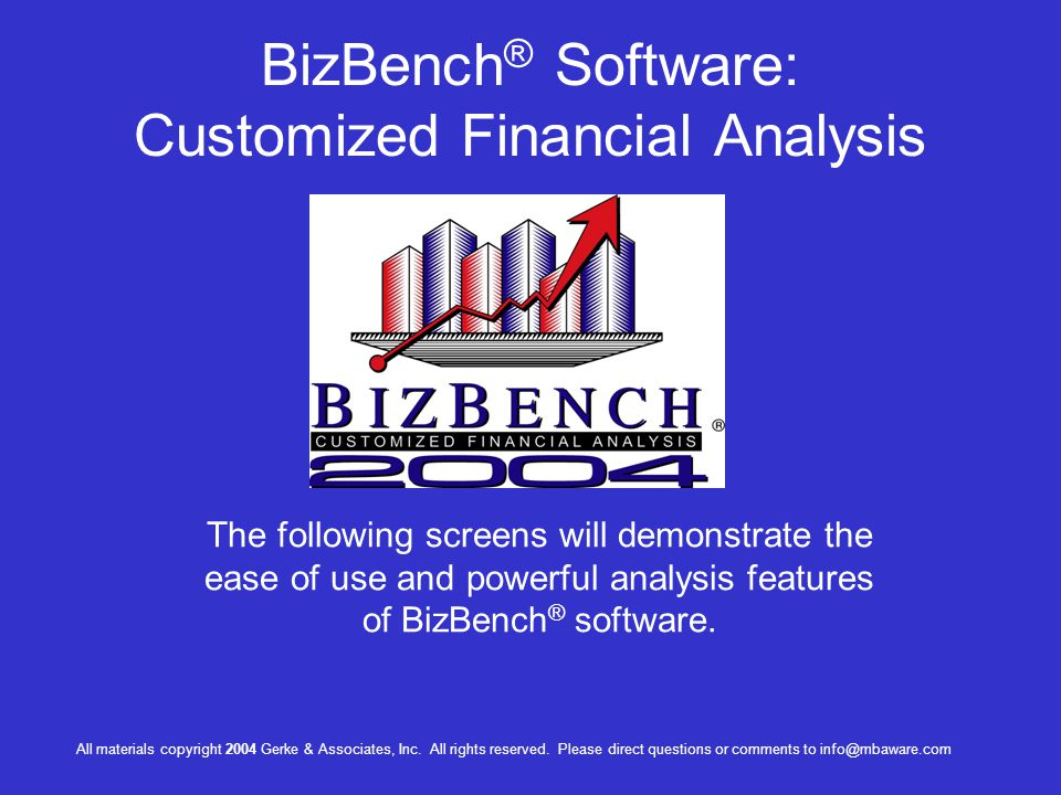 BizBench® Software: Customized Financial Analysis