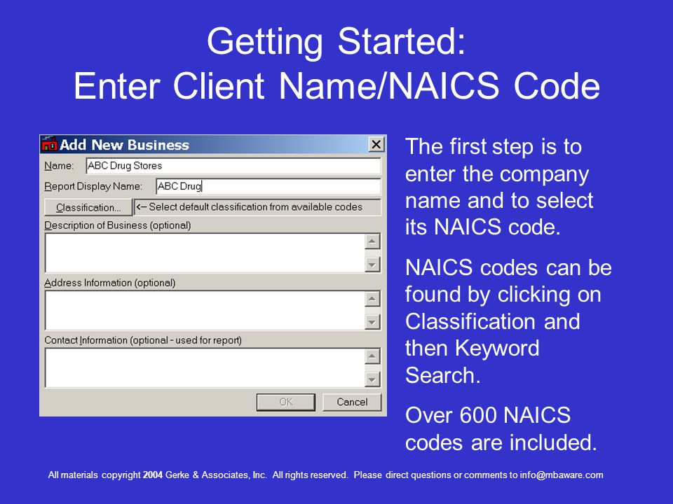 Getting Started: Enter Client Name/NAICS Code