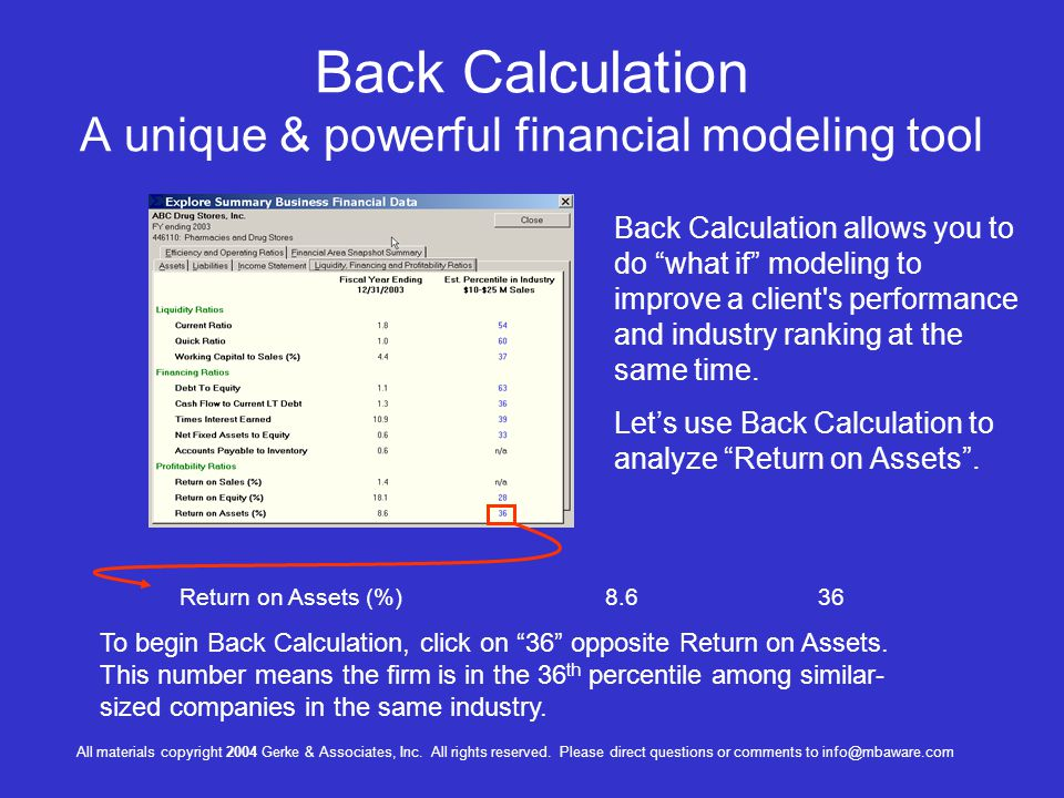 Back Calculation A unique & powerful financial modeling tool