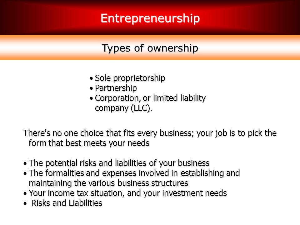 Types of ownership Sole proprietorship Partnership