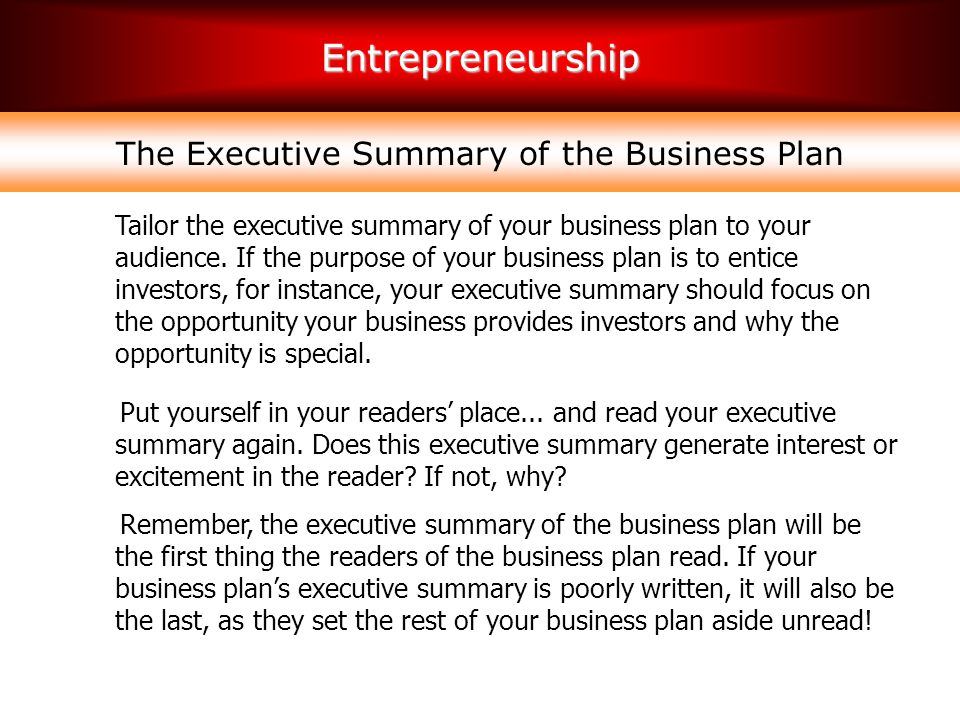 The Executive Summary of the Business Plan