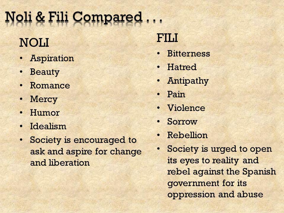 Noli & Fili Compared . . . FILI NOLI Bitterness Aspiration Hatred