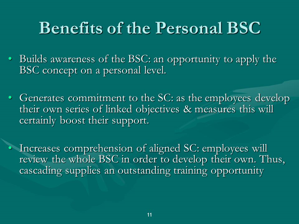 Benefits of the Personal BSC