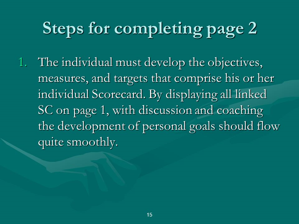 Steps for completing page 2