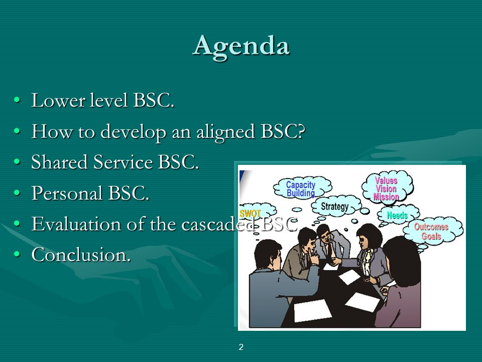 Agenda Lower level BSC. How to develop an aligned BSC