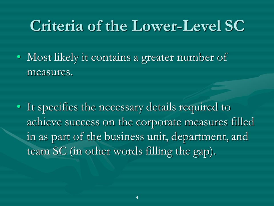 Criteria of the Lower-Level SC
