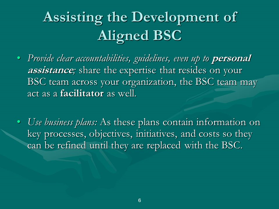 Assisting the Development of Aligned BSC