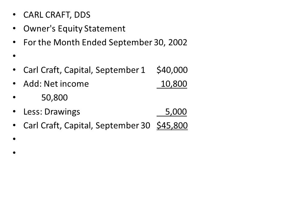CARL CRAFT, DDS Owner s Equity Statement. For the Month Ended September 30, 2002. Carl Craft, Capital, September 1 $40,000.