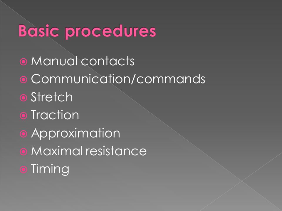Basic procedures Manual contacts Communication/commands Stretch