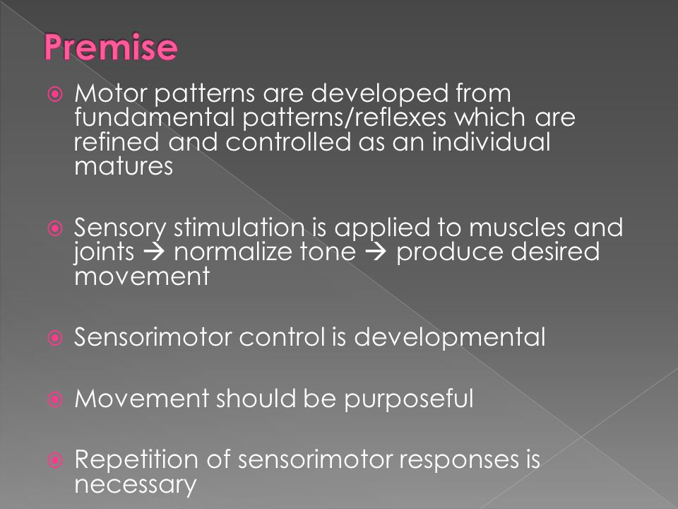 Premise Motor patterns are developed from fundamental patterns/reflexes which are refined and controlled as an individual matures.