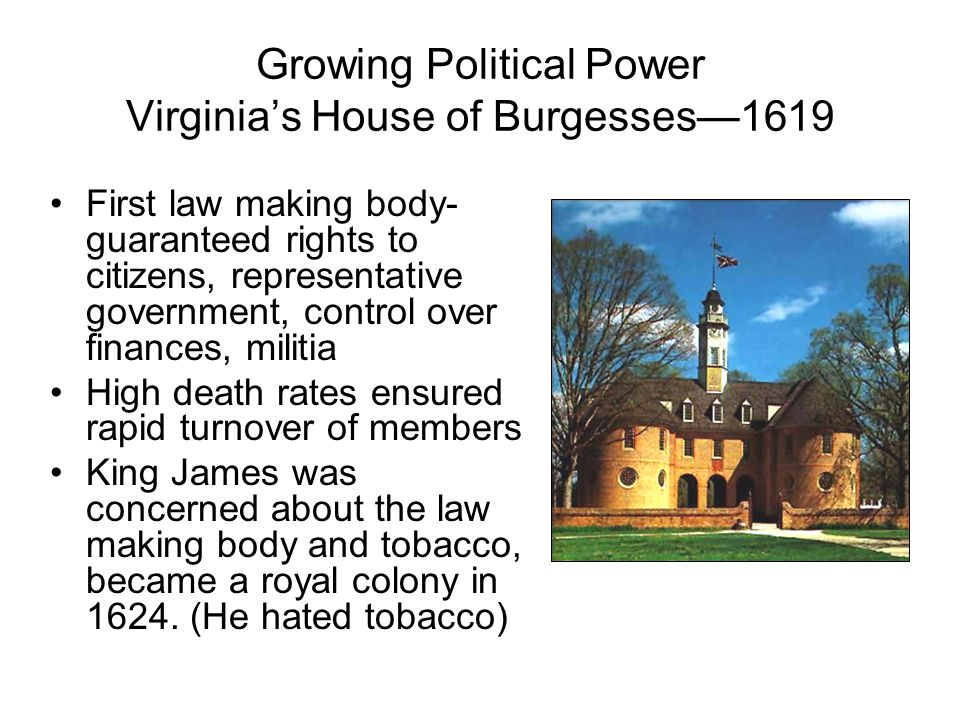 Growing Political Power Virginia's House of Burgesses—1619