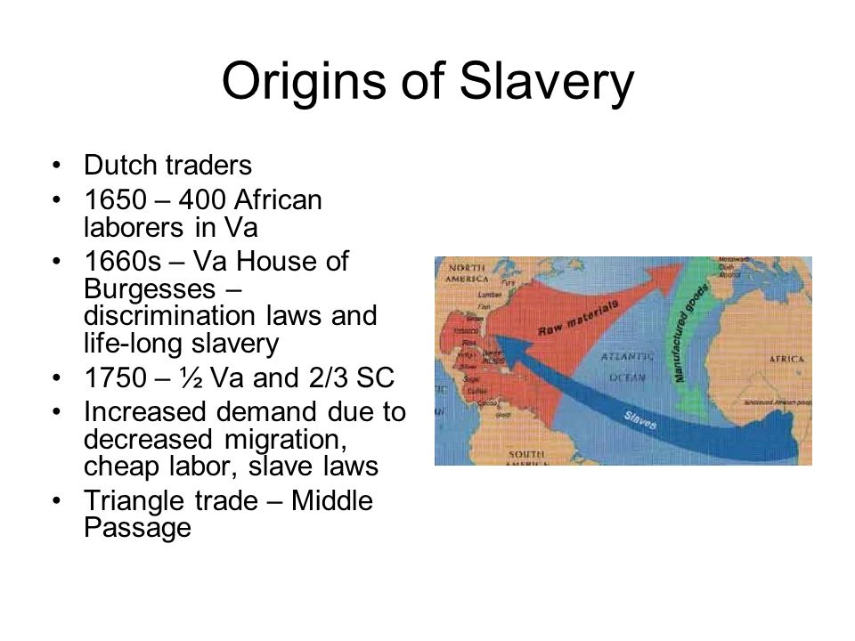Origins of Slavery Dutch traders 1650 – 400 African laborers in Va