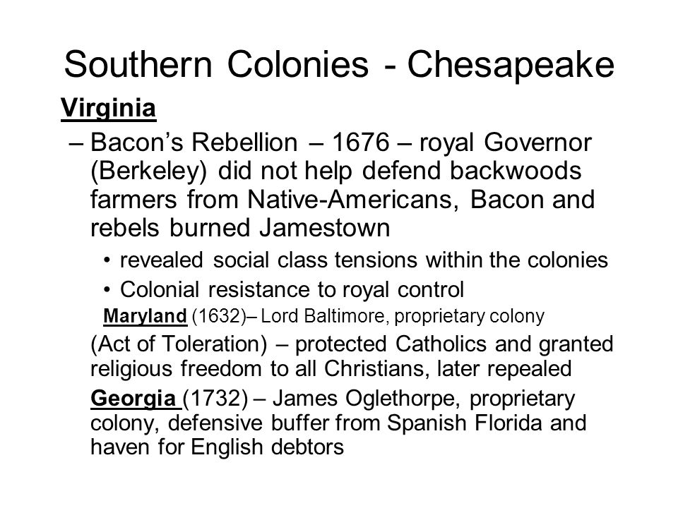 Southern Colonies - Chesapeake