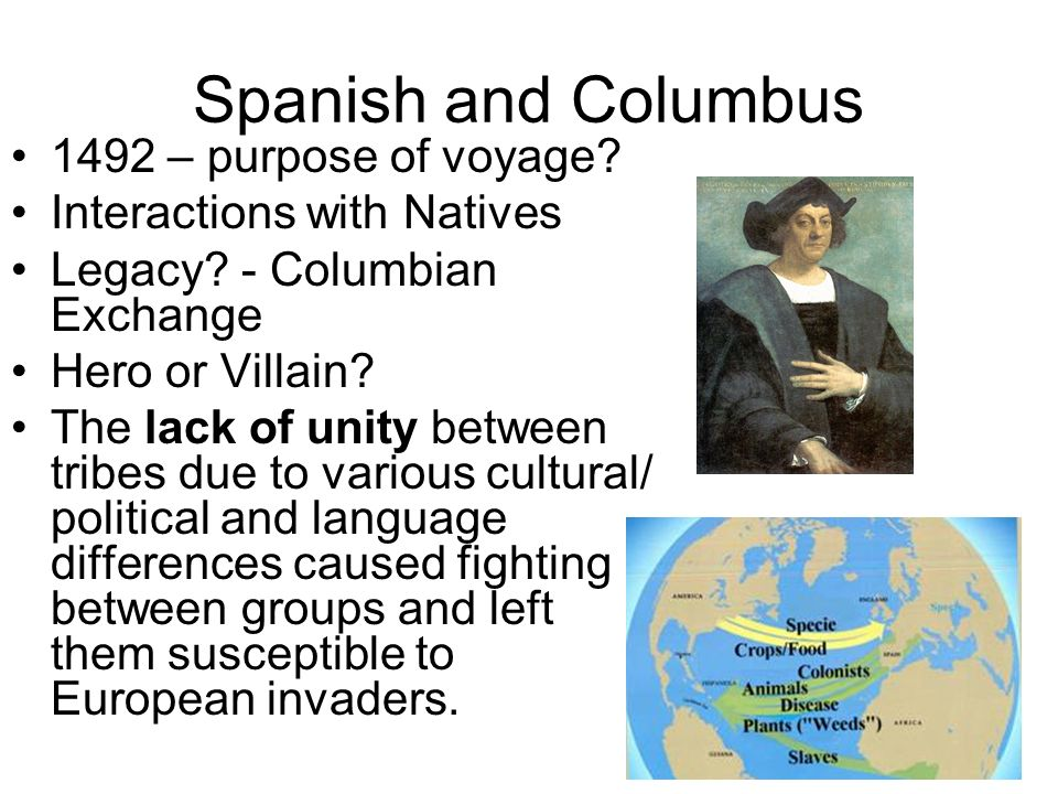 Spanish and Columbus 1492 – purpose of voyage