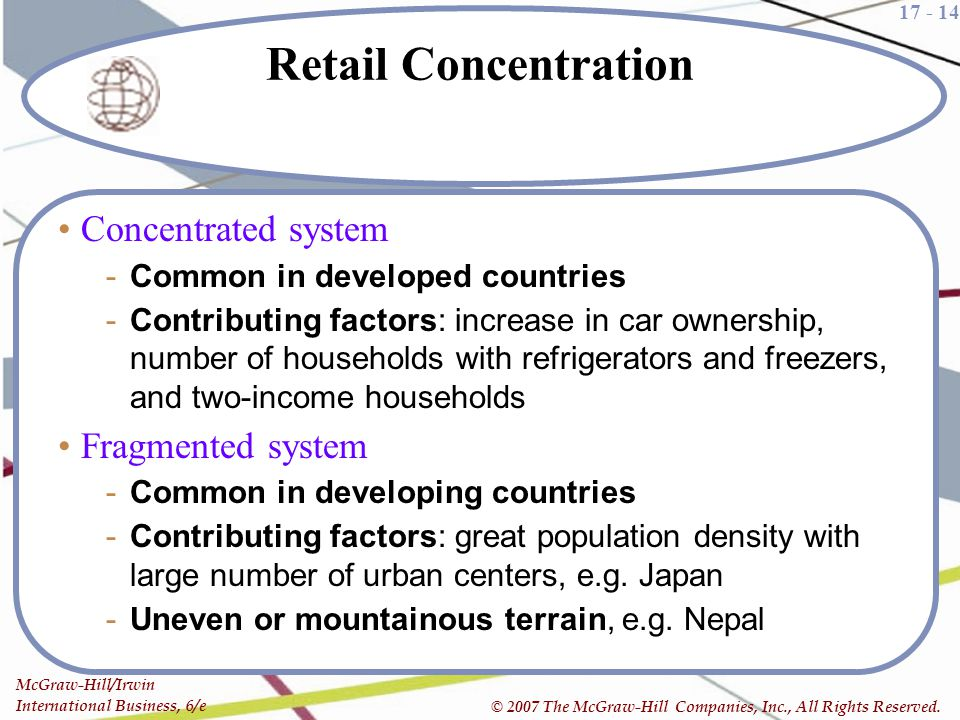 Retail Concentration Concentrated system Fragmented system