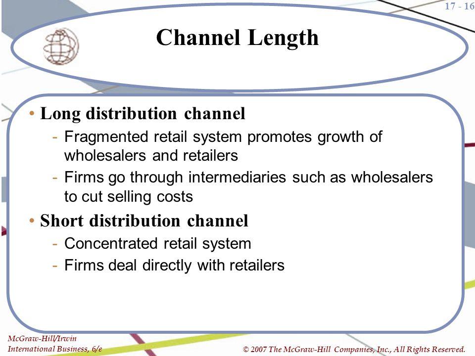 Channel Length Long distribution channel Short distribution channel