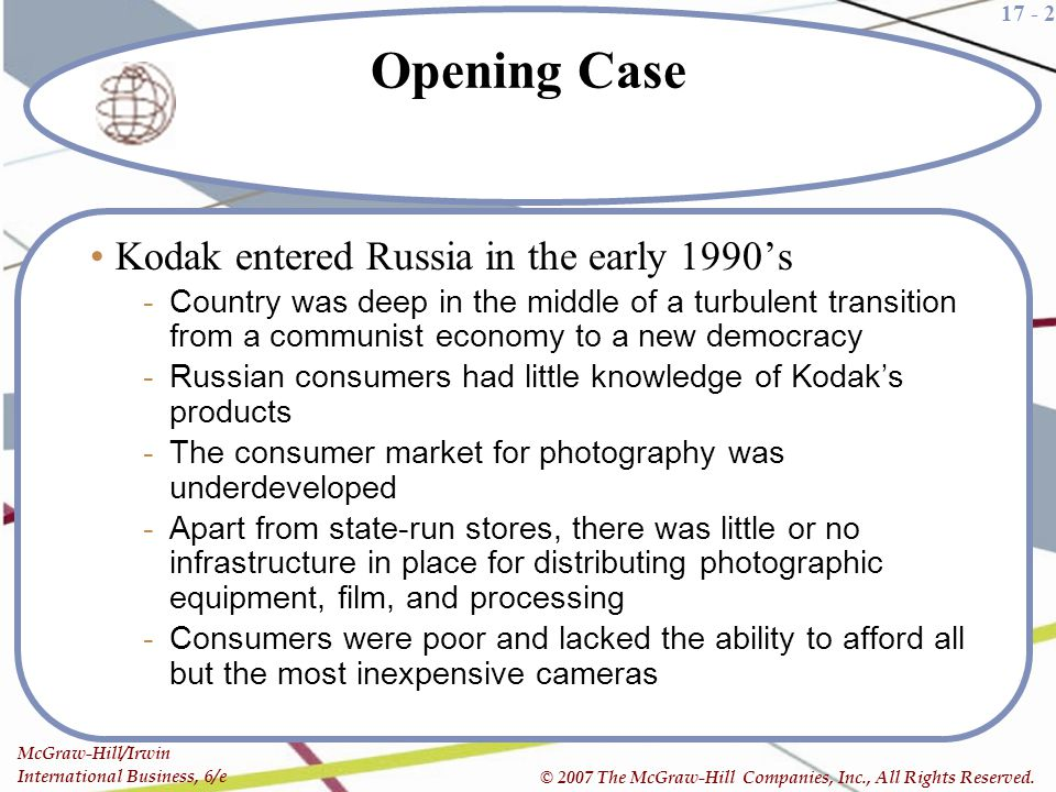 Opening Case Kodak entered Russia in the early 1990's
