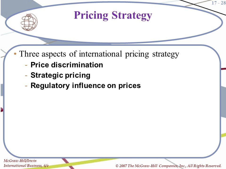 Pricing Strategy Three aspects of international pricing strategy
