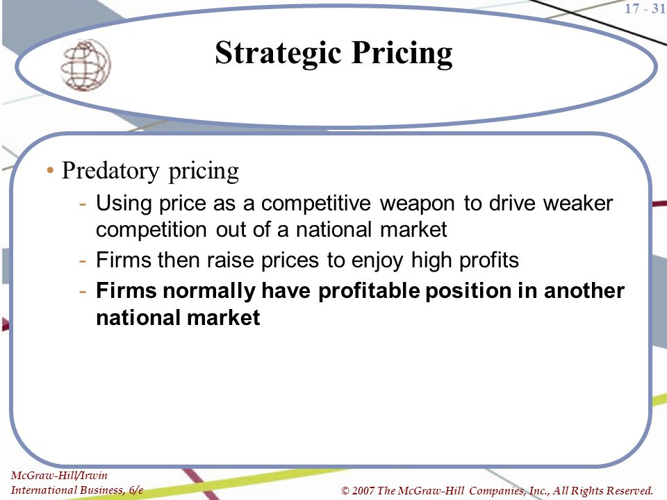 Strategic Pricing Predatory pricing