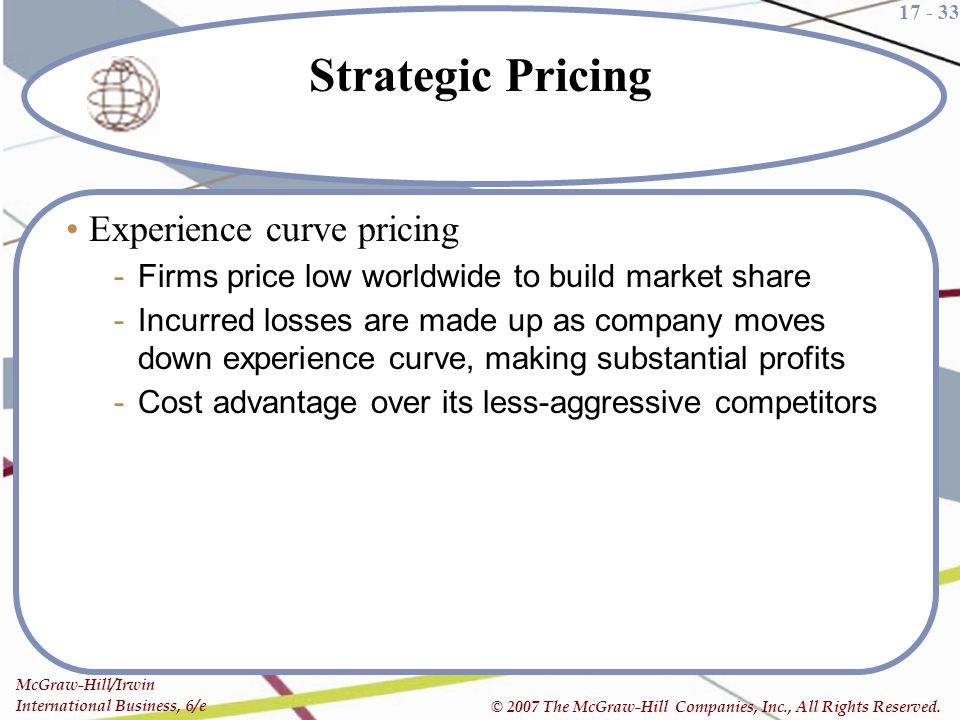 Strategic Pricing Experience curve pricing