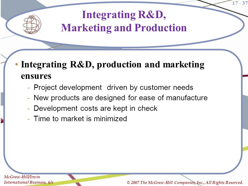 Integrating R&D, Marketing and Production