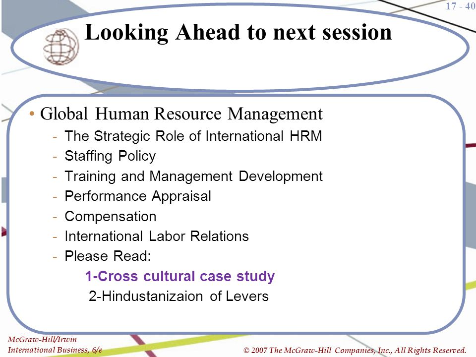 Looking Ahead to next session